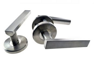 L3- Designer Door Handles High Quality Stainless Steel ( Brushed ) Door Handles – Round Escutcheons