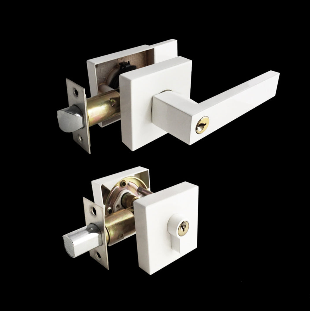 Entrance Lock Set with a Deadbolt -Pure White Finish