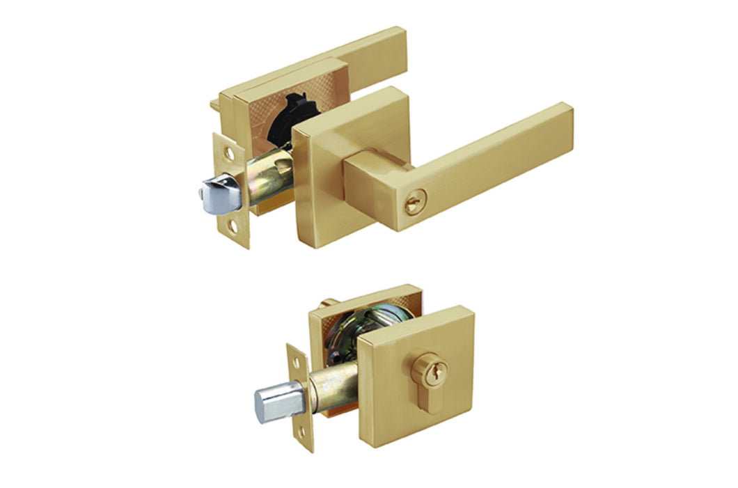 Brushed Brass Entrance Lock Set with a Deadbolt
