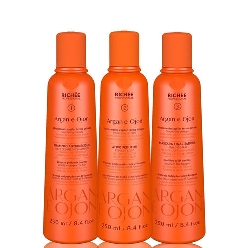Richée Professional hair straightening Argan y Ojon Trio Kit 3x250ml / 3x8.45