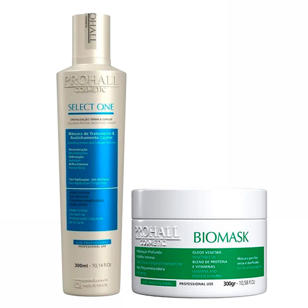 Prohall Kit Select One Progressiva Colagen Protein & Biomask Hydration for Damaged Hair