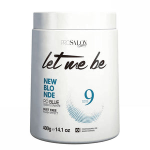 Let Me Be New Polvo decolorante azul rubio Efecto flash Sin polvo 9 toneladas 400g / 14.1fl.oz