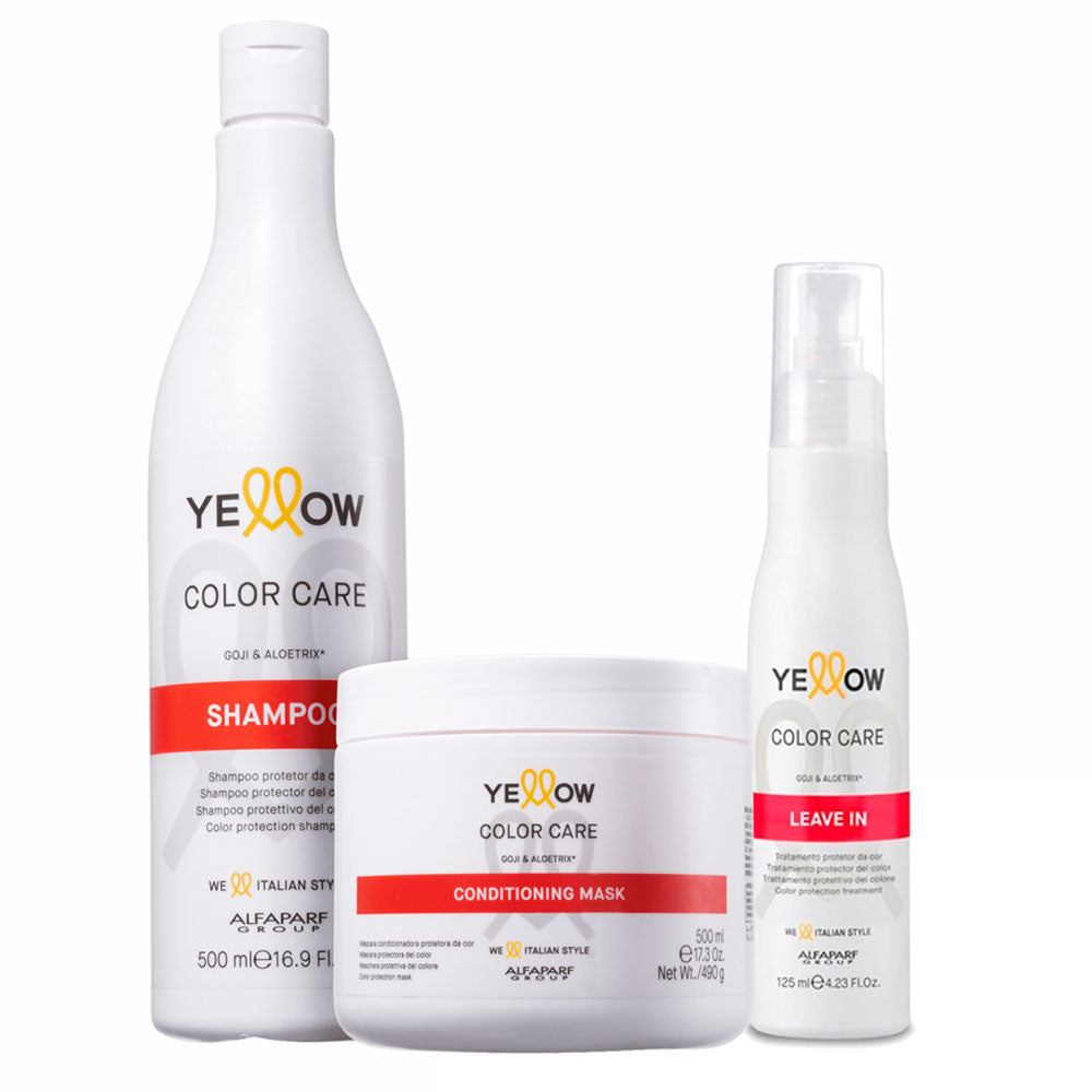 Alfaparf Yellow Color Care Kit Shampoo, Conditioning Mask & Leave in