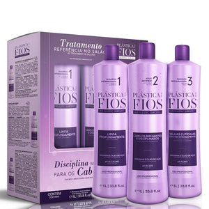 Plastica Dos Fios Keratin Treatment Box Kit  3x1L/3x33.81fl.oz