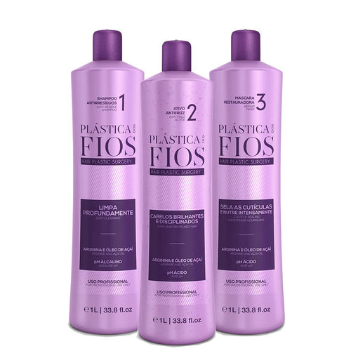 Plastica dos Fios Brazilian Keratin Box kit hair treatment 3x1L 34oz