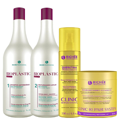 Kit Richée Bioplástica + Queratina e Máscara Clinic Repair