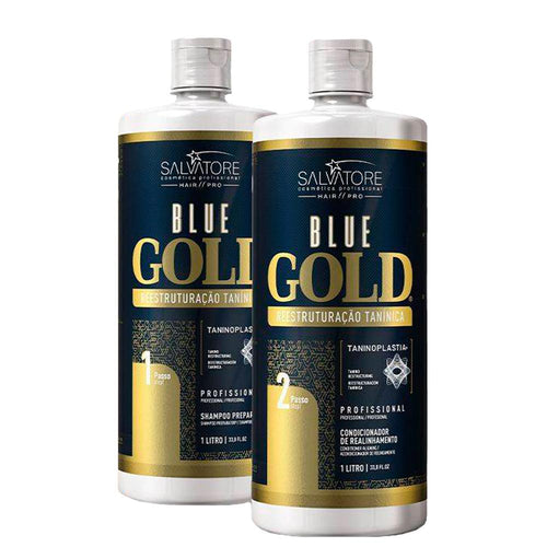 Salvatore Blue Gold hair straightening Brush Wire Realineamiento