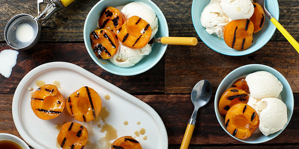 Grilled Maple Butter Apricots with Vanilla Ice Cream
