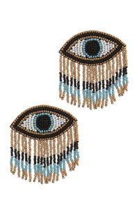 Stylish Evil Eye Drop Fringe Earring (5 Colors)