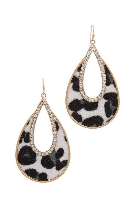 Rhinestone Animal Print Drop Earring (2 Colors)