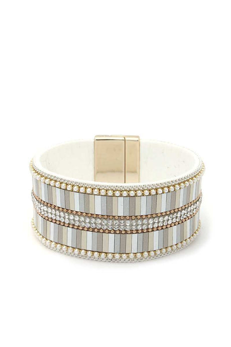 Rhinestone Block Magnetic Bracelet (6 Colors)