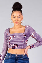 Load image into Gallery viewer, Lavender Ruched Velvet Floral Back Tie Crop Top