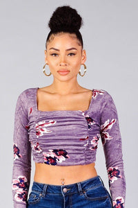Lavender Ruched Velvet Floral Back Tie Crop Top