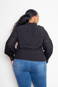 Black Blouse With Punched Sleeves