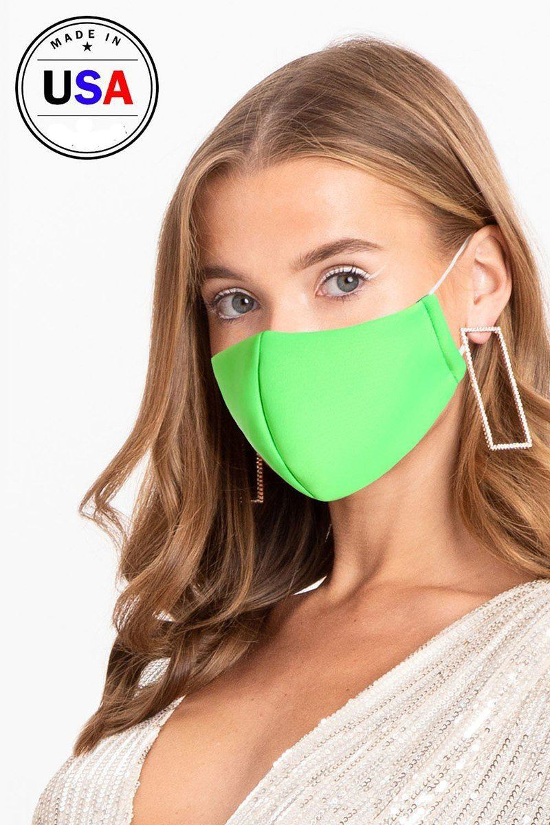 Neon Green 3d Reusable Water Resistant Face Mask