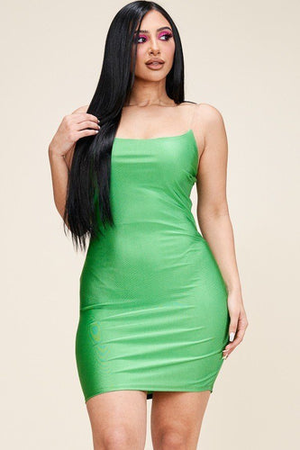Kelly Green Solid Tank Dress With Clear Bra Straps
