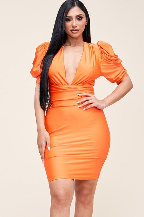 Orange Solid Short Puff Sleeve Dress With Plunged V Neck Line