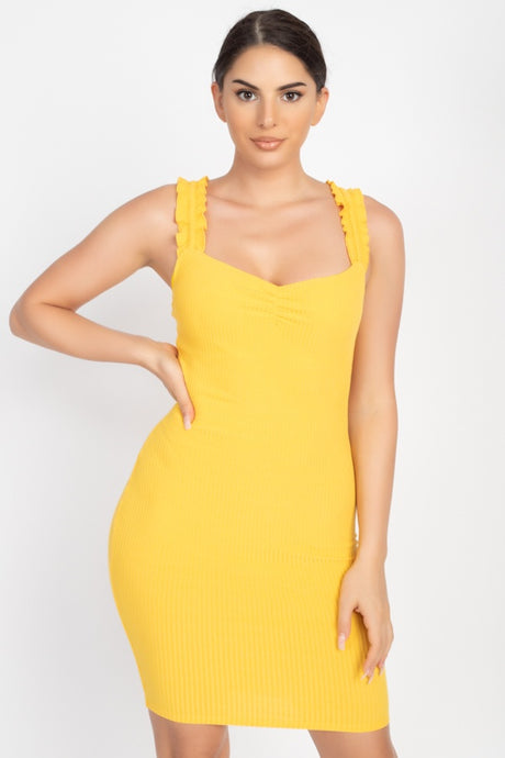 Sunrise Yellow Ruffle Strap Ribbed Mini Dress