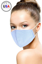 Load image into Gallery viewer, Blue Cotton Stripe 3d Reusable Face Mask
