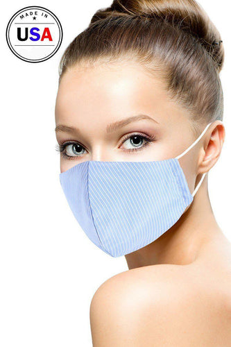 Blue Cotton Stripe 3d Reusable Face Mask