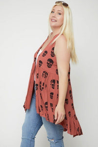 Rust Sleeveless Cardigan