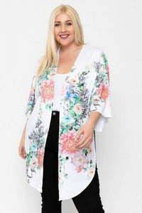 White/Floral Long Body Cardigan