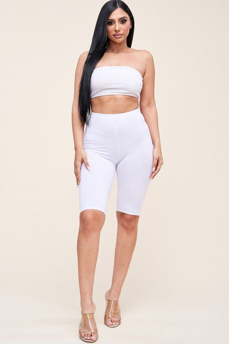 Snow White Solid Cotton Lycra Biker Length Shorts