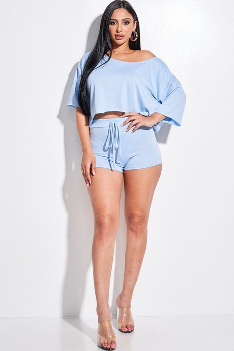 Blue Solid French Terry Slouchy Top And Shorts Two Piece Set