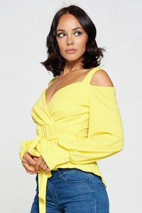 Yellow Long Sleeve Cold Shoulder Top