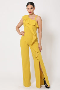 Mustard One Shoulder Ruffle Jumpsuit