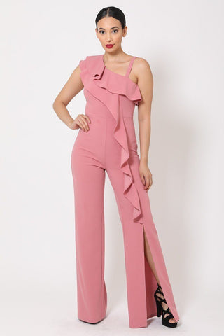 Dark Mauve One Shoulder Ruffle Jumpsuit