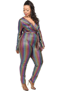 Multi Plus Sequin Striped Surplice Jumpsuit