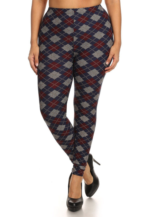 Multi Plus Size Plaid Graphic Printed Knit Legging