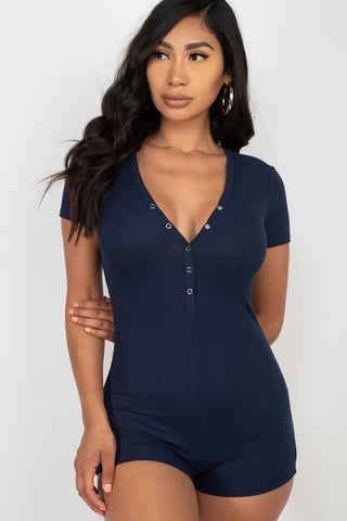 Navy Button Trim Romper