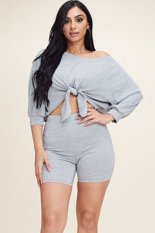 Heather Grey Solid Slouchy Top And Shorts Two Piece Set