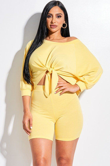 Yellow Solid Slouchy Top And Shorts Two Piece Set