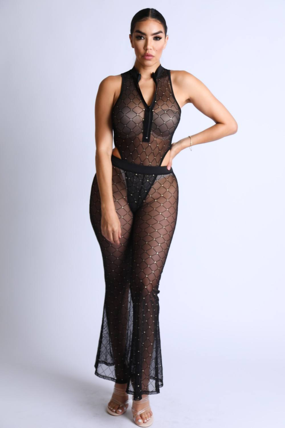Black Diamond Mesh Bodysuit Set With Flared Pants