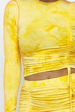 Load image into Gallery viewer, Yellow Tie Dyed Long-sleeve Cropped Top And Mini Skirt Set