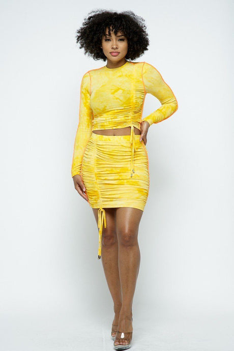Yellow Tie Dyed Long-sleeve Cropped Top And Mini Skirt Set