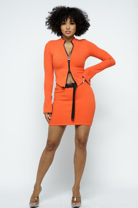 Orange Stretchable Cropped Top High-waist Mini Skirt