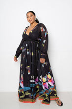 Load image into Gallery viewer, Black Multi Tropical Print Maxi Dress
