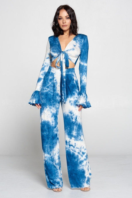 Blue Tie Dye Fronttie Top And Wide Leg Pants Set