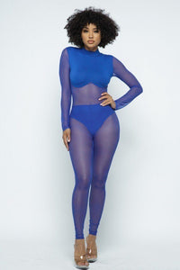 Royal Mesh Mock Neck Jumpsuit