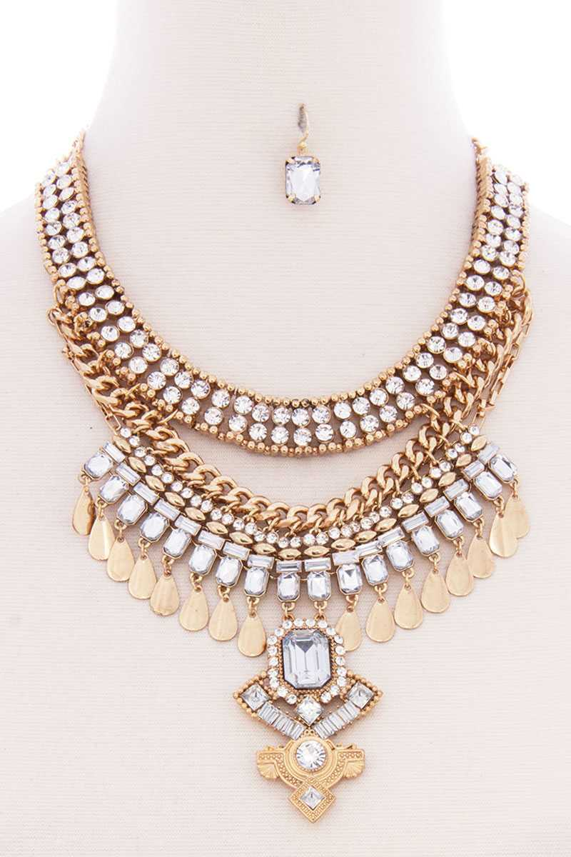 Chunky Bohemian Necklace & Earring Set (2 Colors)