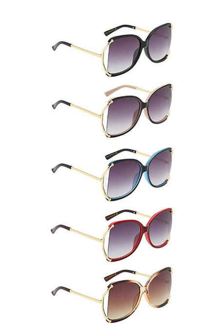 Stylish C Frame Metallic Temple Sunglasses (5 Colors)