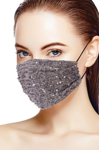 3d Sequin Grey/Silver Fashion Face mask