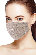 Load image into Gallery viewer, 3d Sequin Nude/Silver Fashion Facemask