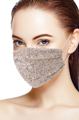 3d Sequin Nude/Silver Fashion Facemask