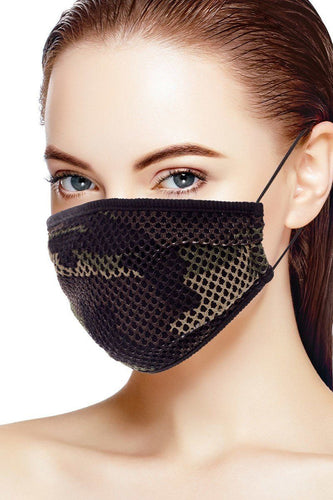 Mesh Leopard And Camouflage Print Face Mask