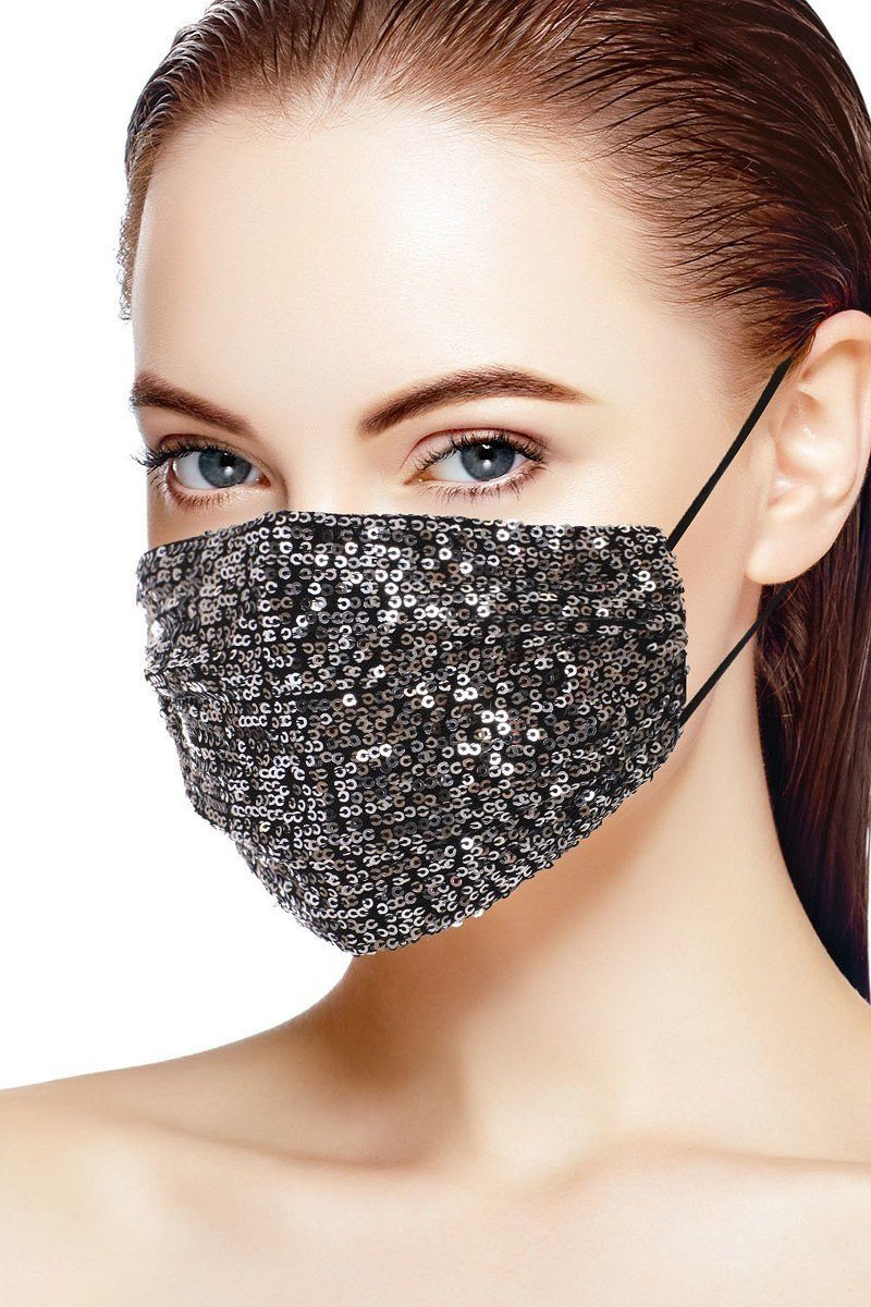 Black/Silver 3d Sequin Black/Silver Fashion Facemask